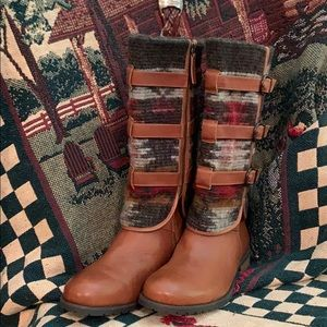 Vogue wool and leather riding boots